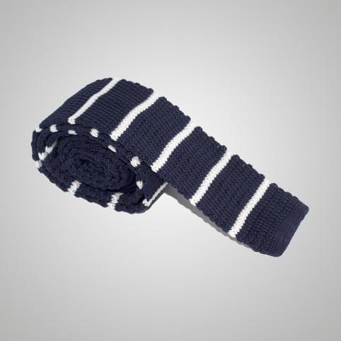 Cravate en laine Bleu à rayure blanche