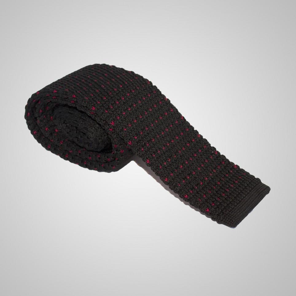 Cravate en laine Noir à poids rouge