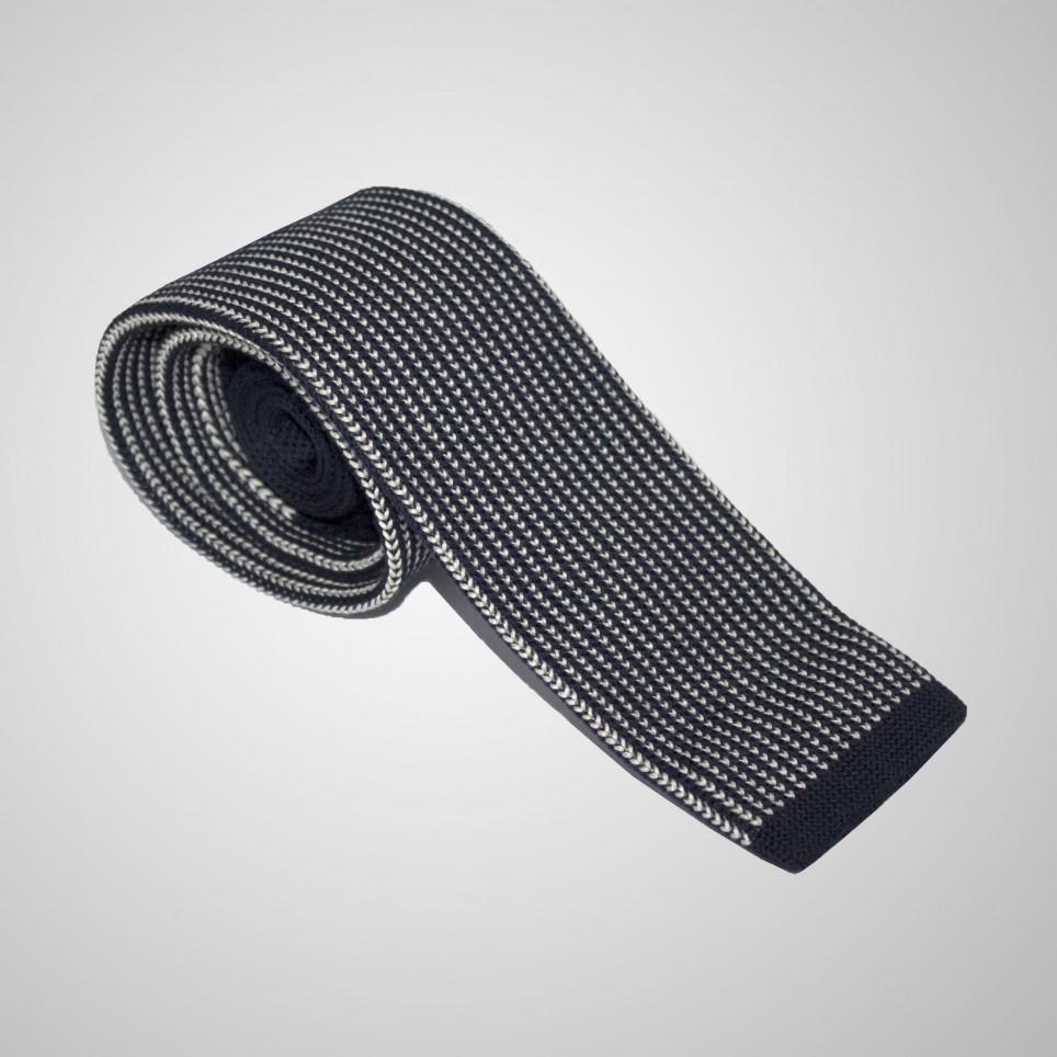 Cravate en laine Bleue à rayures croisées