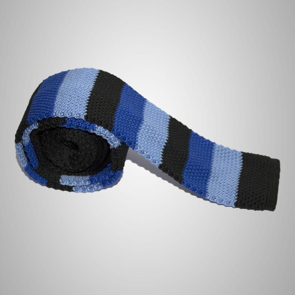 Cravate en laine Bleu/Noir à rayures