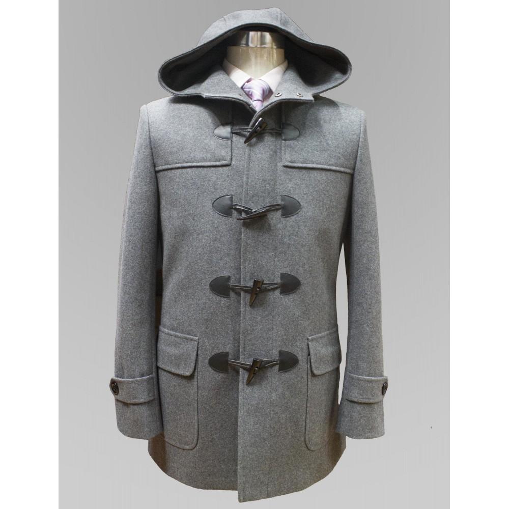 Duffle Coat Gris En Cachemire Pour Homme Col Vert