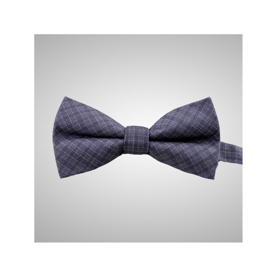 Checked Grey Bow Tie