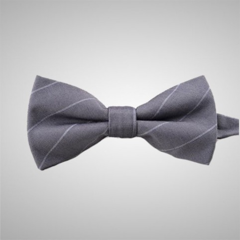 Striped Grey Bow Tie