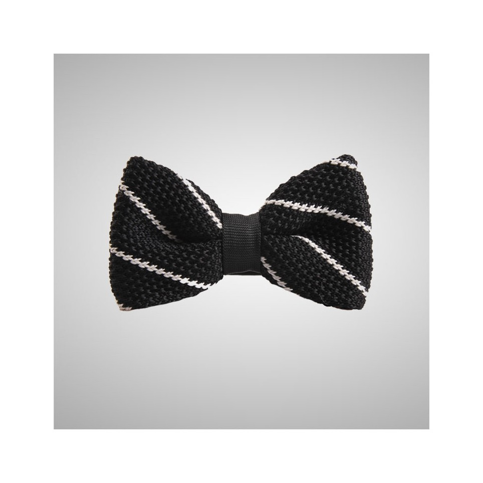 Striped Black Knitted Bow Tie