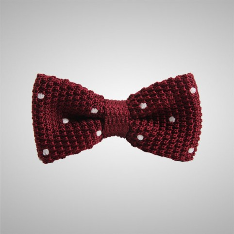 Dots Burgundy Knitted Bow Tie