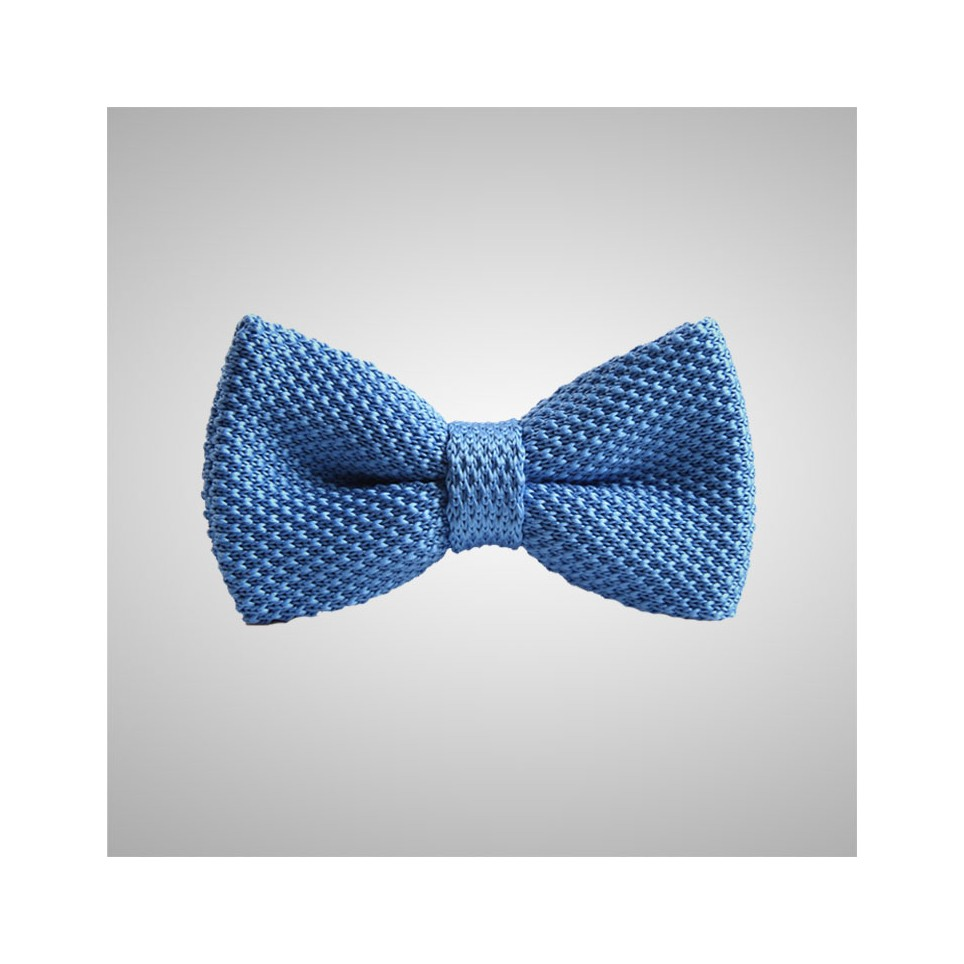 Sky Blue Knitted Bow Tie