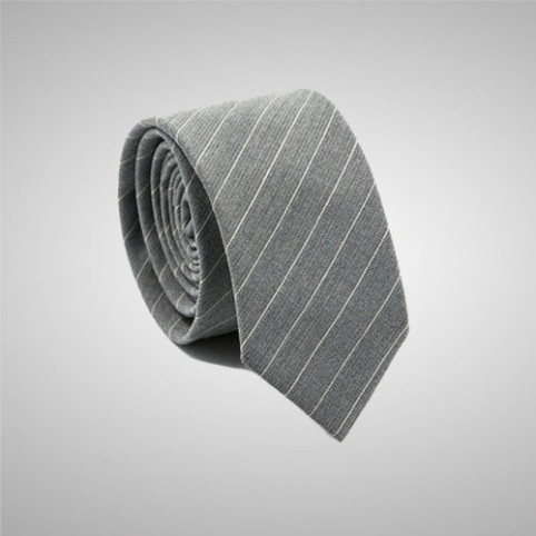 Striped Grey Slim Tie