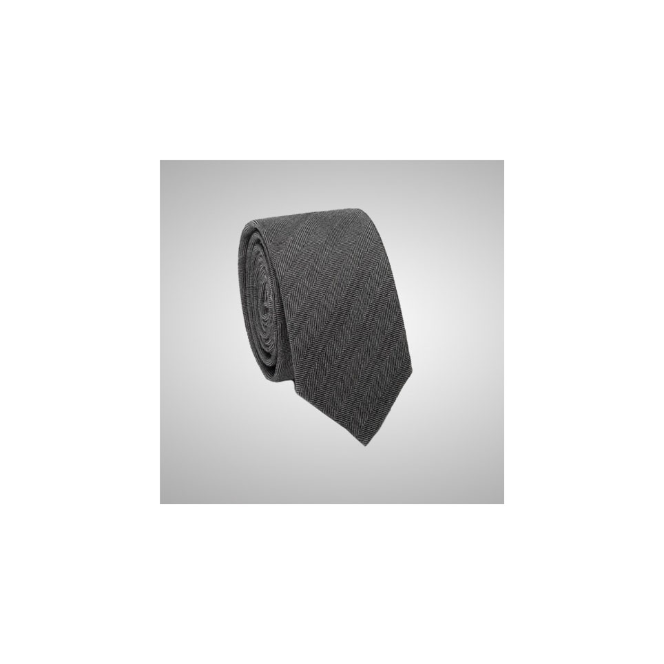 Grey Chevron Slim Tie