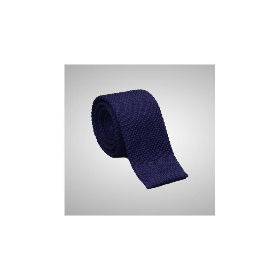 Cravate en laine Bleu tressée