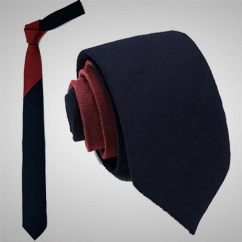 Cravate Slim Bicolore Bordeaux Bleu
