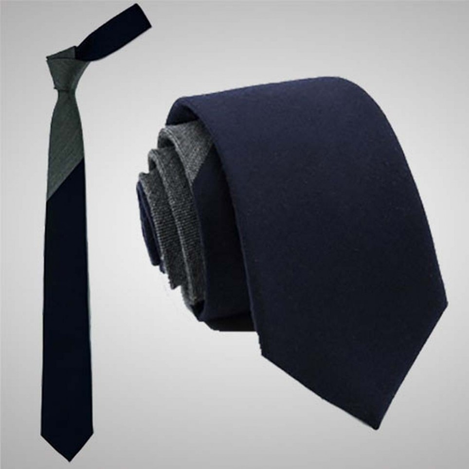 Cravate Slim Bicolore Gris Bleu