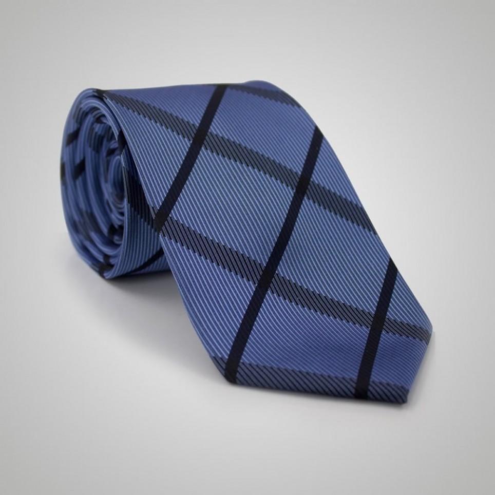 Cravate soie Bleue motif Burburry