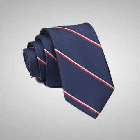 Striped Navy Blue Tie