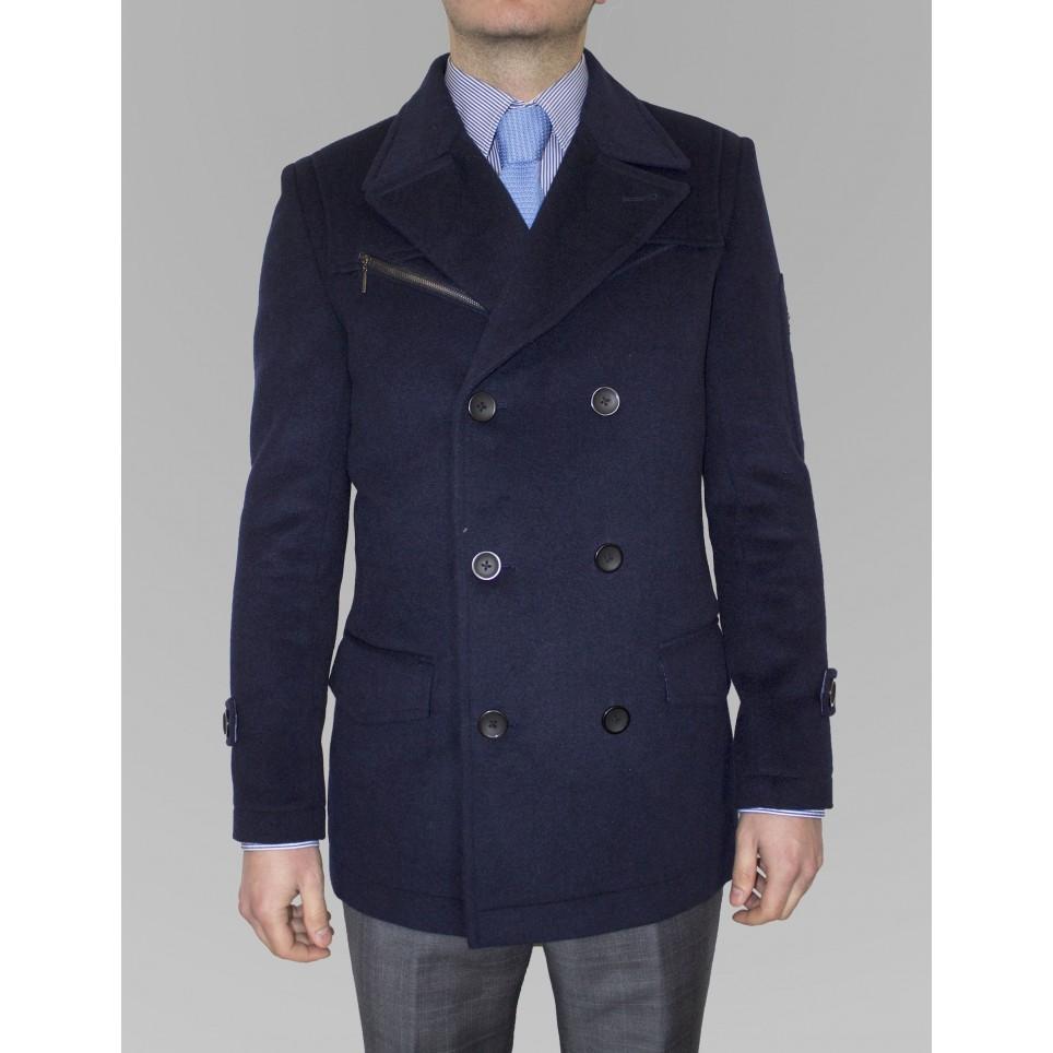 2019 real 100% de qualité le plus en vogue Blue cashmere coat