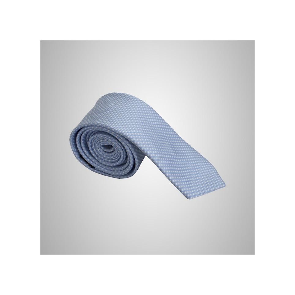 Cravate Damier Bleu Clair - Slim soie