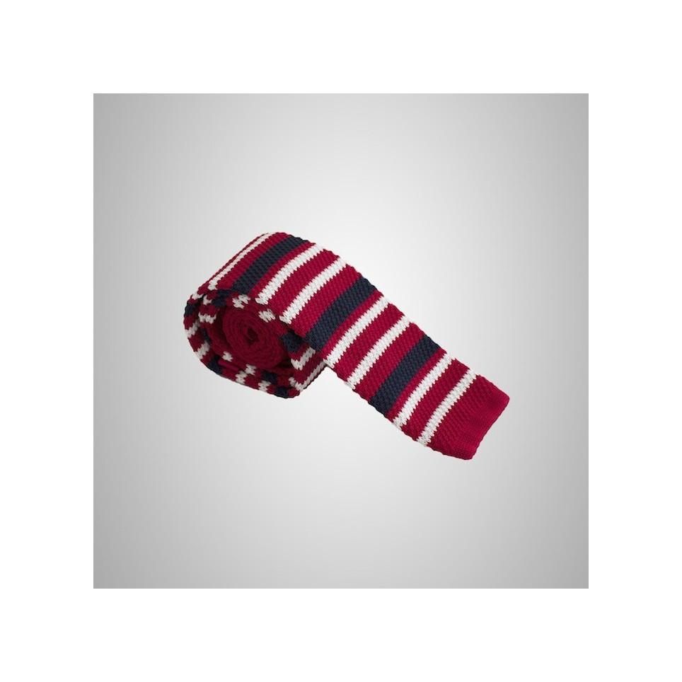 Cravate en laine Rouge à rayures pas cher