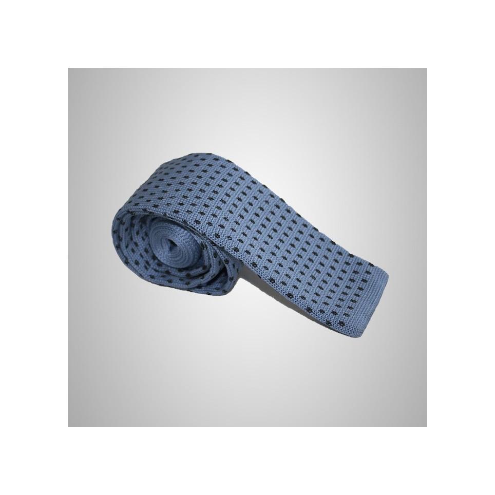 Cravate tricot Bleu Ciel à pois pas cher