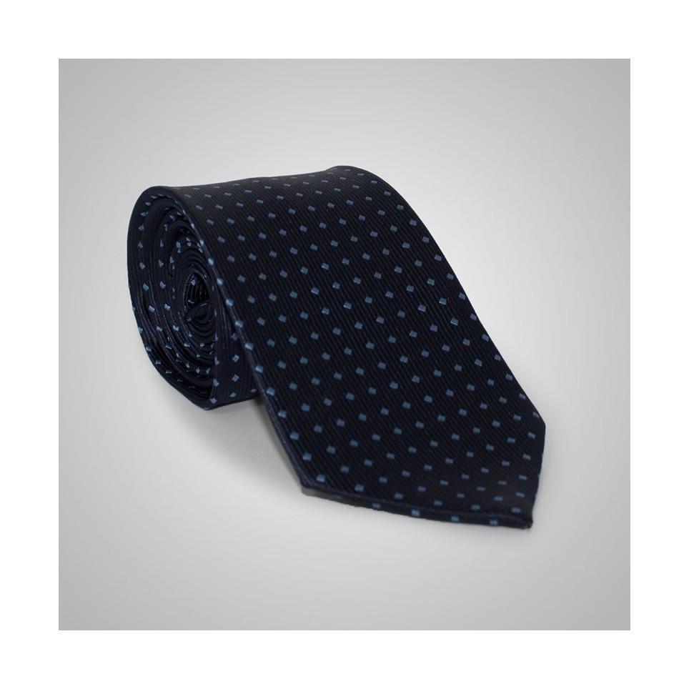 Cravate soie Bleu à pois