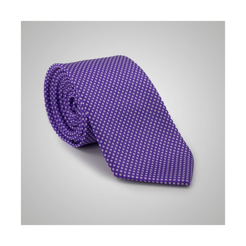 Cravate soie Violette à pois blancs