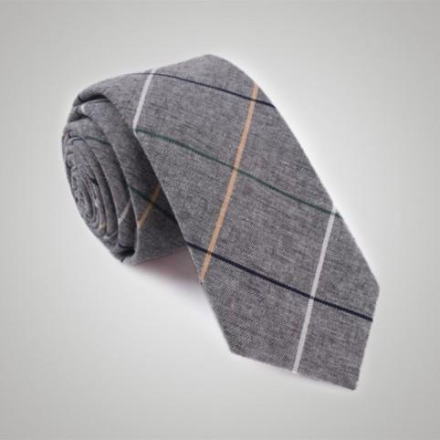 Cravate tartan grise
