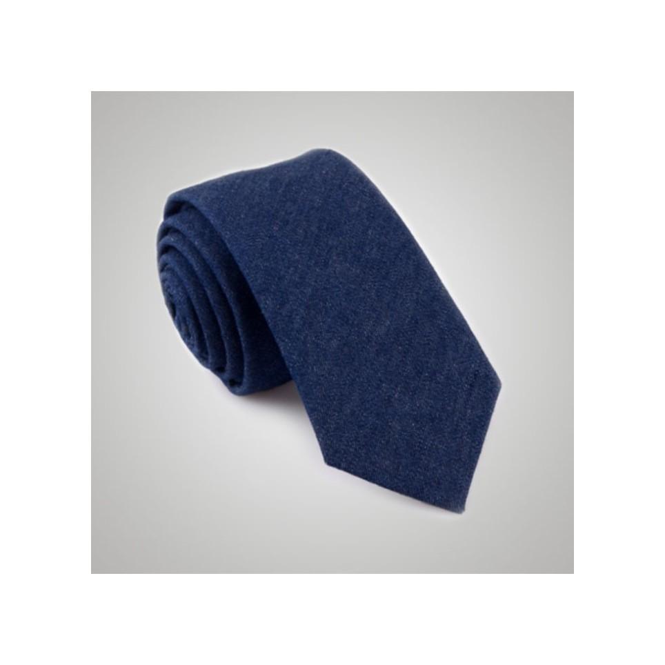 Cravate laine jean bleu
