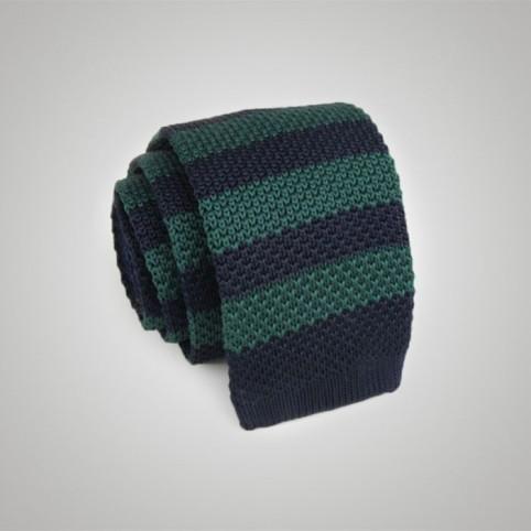 Cravate tricot rayée bleu vert