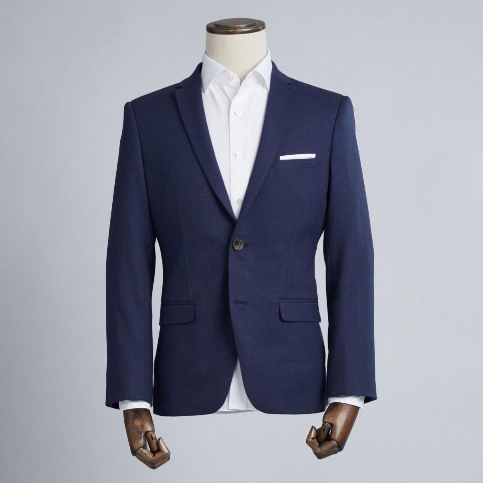 Costume sur-mesure : Gris fil à fil bleuté