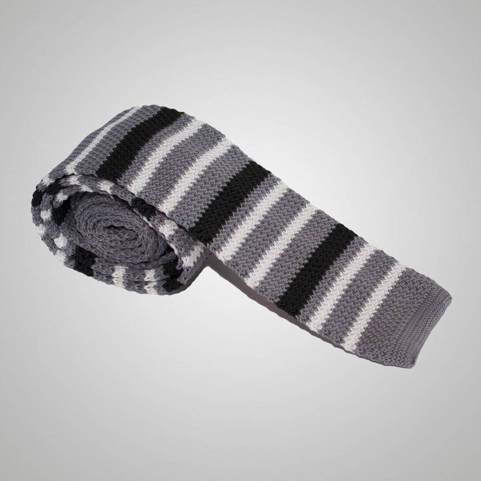 Cravate en laine Grise à rayure