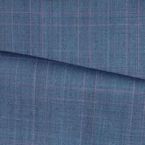 Costume sur-mesure Bleu Prince de Galles trait rouge