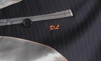 ajoutez une inscription dans la poche intérieur costume sur mesure
